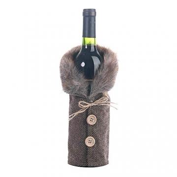 Gleisnut Neue Weihnachtstischdekoration Flasche Rotwein Flasche Sätze Plaidrock gestreift setzt 3PCS / LOT (Color : A, Size : 24 * 12cm) - 3