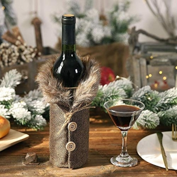 Gleisnut Neue Weihnachtstischdekoration Flasche Rotwein Flasche Sätze Plaidrock gestreift setzt 3PCS / LOT (Color : A, Size : 24 * 12cm) - 4
