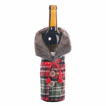 Gleisnut Neue Weihnachtstischdekoration Flasche Rotwein Flasche Sätze Plaidrock gestreift setzt 3PCS / LOT (Color : A, Size : 24 * 12cm) - 1