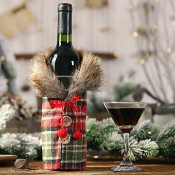 Gleisnut Neue Weihnachtstischdekoration Flasche Rotwein Flasche Sätze Plaidrock gestreift setzt 3PCS / LOT (Color : A, Size : 24 * 12cm) - 5
