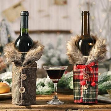 Gleisnut Neue Weihnachtstischdekoration Flasche Rotwein Flasche Sätze Plaidrock gestreift setzt 3PCS / LOT (Color : A, Size : 24 * 12cm) - 6