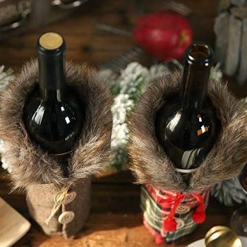 Gleisnut Neue Weihnachtstischdekoration Flasche Rotwein Flasche Sätze Plaidrock gestreift setzt 3PCS / LOT (Color : A, Size : 24 * 12cm) - 7