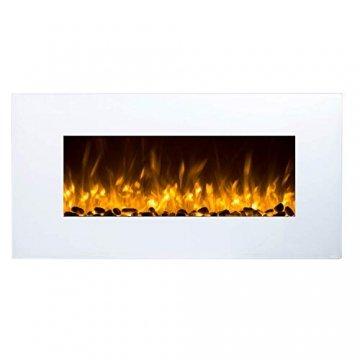 GLOW FIRE Elektrokamin mit Heizung, Wandkamin mit LED   Künstliches Feuer mit zuschaltbarem Heizlüfter: 750/1500 W   Fernbedienung (Größe M - 110 cm, Weiß) - 2