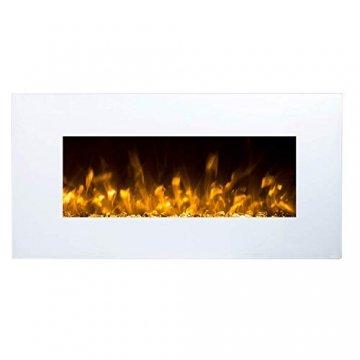 GLOW FIRE Elektrokamin mit Heizung, Wandkamin mit LED   Künstliches Feuer mit zuschaltbarem Heizlüfter: 750/1500 W   Fernbedienung (Größe M - 110 cm, Weiß) - 3