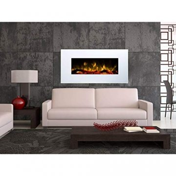 GLOW FIRE Elektrokamin mit Heizung, Wandkamin mit LED   Künstliches Feuer mit zuschaltbarem Heizlüfter: 750/1500 W   Fernbedienung (Größe M - 110 cm, Weiß) - 4