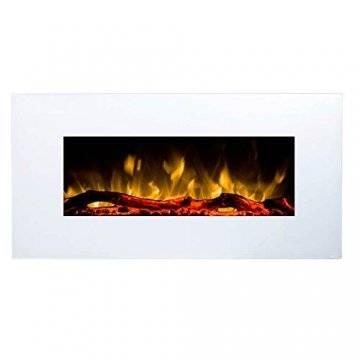 GLOW FIRE Elektrokamin mit Heizung, Wandkamin mit LED   Künstliches Feuer mit zuschaltbarem Heizlüfter: 750/1500 W   Fernbedienung (Größe M - 110 cm, Weiß) - 1