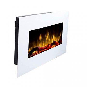 GLOW FIRE Elektrokamin mit Heizung, Wandkamin mit LED   Künstliches Feuer mit zuschaltbarem Heizlüfter: 750/1500 W   Fernbedienung (Größe M - 110 cm, Weiß) - 5