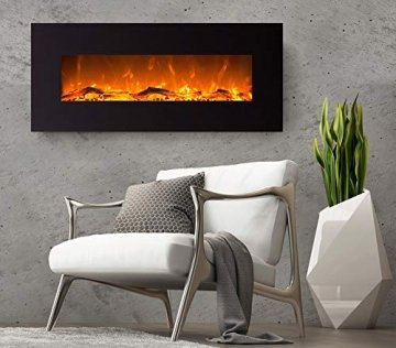 GLOW FIRE Mars Elektrokamin mit Heizung, Wandkamin mit LED | Künstliches Feuer mit zuschaltbarem Heizlüfter: 750/1500 W | Fernbedienung, 126 cm, Schwarz, Holzdekoration - 4