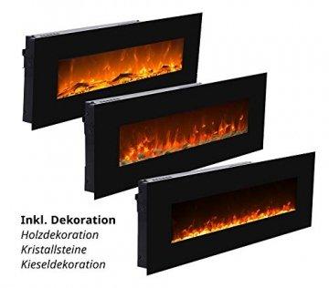 GLOW FIRE Mars Elektrokamin mit Heizung, Wandkamin mit LED | Künstliches Feuer mit zuschaltbarem Heizlüfter: 750/1500 W | Fernbedienung, 126 cm, Schwarz, Holzdekoration - 5