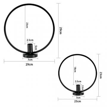 GoMaihe Retro Kerzenhalter 2 Set in Unterschiedlicher Größe, 29/23cm Antik Kerzenständer Eisen Deko Rund Geformt Kerzenleuchter, Kerzen Ständer Tischdeko Hochzeit, Schwarz.MEHRWEG - 2