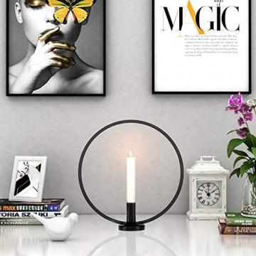 GoMaihe Retro Kerzenhalter 2 Set in Unterschiedlicher Größe, 29/23cm Antik Kerzenständer Eisen Deko Rund Geformt Kerzenleuchter, Kerzen Ständer Tischdeko Hochzeit, Schwarz.MEHRWEG - 4
