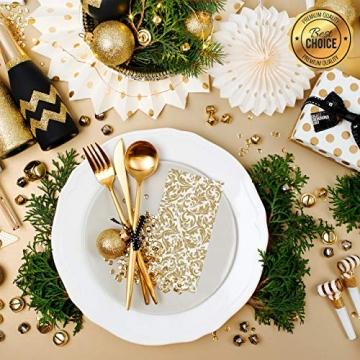 GRUBly Servietten Gold | Stoffähnlich [50 Stück] | Hochwertige goldene Tischdekoration für Weihnachten, Hochzeit, Geburtstag, Feiern | 40x40cm | AIRLAID QUALITÄT - 2