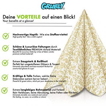 GRUBly Servietten Gold | Stoffähnlich [50 Stück] | Hochwertige goldene Tischdekoration für Weihnachten, Hochzeit, Geburtstag, Feiern | 40x40cm | AIRLAID QUALITÄT - 3