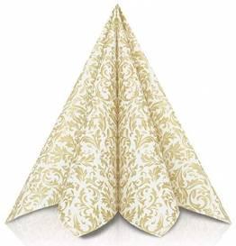 GRUBly Servietten Gold | Stoffähnlich [50 Stück] | Hochwertige goldene Tischdekoration für Weihnachten, Hochzeit, Geburtstag, Feiern | 40x40cm | AIRLAID QUALITÄT - 1