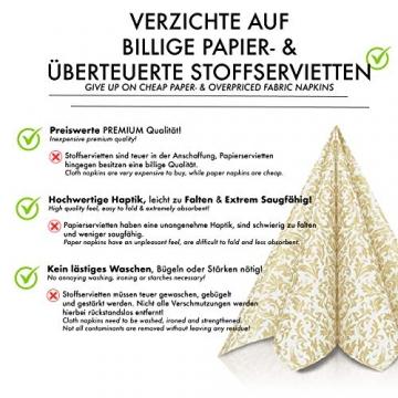 GRUBly Servietten Gold | Stoffähnlich [50 Stück] | Hochwertige goldene Tischdekoration für Weihnachten, Hochzeit, Geburtstag, Feiern | 40x40cm | AIRLAID QUALITÄT - 5