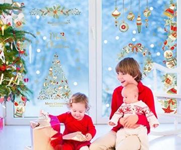 heekpek Fensterbilder Weihnachten Fensterdeko Selbstklebend Weihnachtsdeko Fensteraufkleber Weihnachten PVC Fenstersticker für Home Türen Schaufenster Vitrinen Glas Deko - 2
