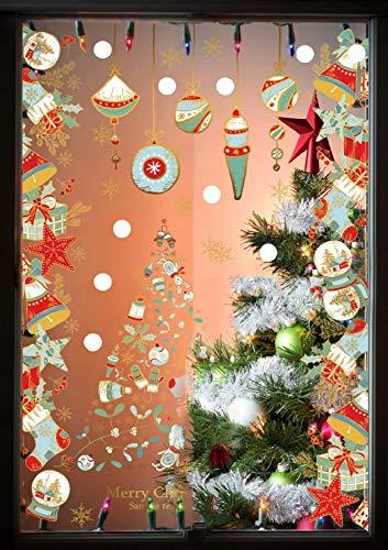 heekpek Fensterbilder Weihnachten Fensterdeko Selbstklebend Weihnachtsdeko Fensteraufkleber Weihnachten PVC Fenstersticker für Home Türen Schaufenster Vitrinen Glas Deko - 3