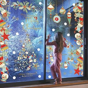 heekpek Fensterbilder Weihnachten Fensterdeko Selbstklebend Weihnachtsdeko Fensteraufkleber Weihnachten PVC Fenstersticker für Home Türen Schaufenster Vitrinen Glas Deko - 4