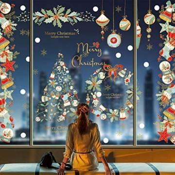 heekpek Fensterbilder Weihnachten Fensterdeko Selbstklebend Weihnachtsdeko Fensteraufkleber Weihnachten PVC Fenstersticker für Home Türen Schaufenster Vitrinen Glas Deko - 1