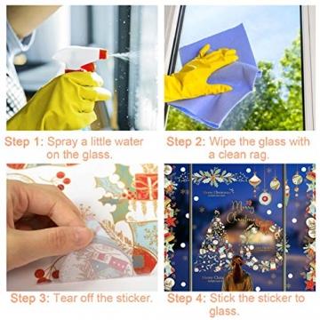 heekpek Fensterbilder Weihnachten Fensterdeko Selbstklebend Weihnachtsdeko Fensteraufkleber Weihnachten PVC Fenstersticker für Home Türen Schaufenster Vitrinen Glas Deko - 7