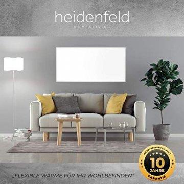 Heidenfeld Infrarotheizung HF-HP100 1000 Watt Weiß - inkl. Thermostat - 10 Jahre Garantie - Deutsche Qualitätsmarke - TÜV GS - 1000 Watt - 15-25 m² (HF-HP100 1000 Watt) - 2