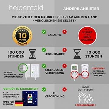 Heidenfeld Infrarotheizung HF-HP100 1000 Watt Weiß - inkl. Thermostat - 10 Jahre Garantie - Deutsche Qualitätsmarke - TÜV GS - 1000 Watt - 15-25 m² (HF-HP100 1000 Watt) - 3