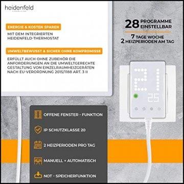 Heidenfeld Infrarotheizung HF-HP100 1000 Watt Weiß - inkl. Thermostat - 10 Jahre Garantie - Deutsche Qualitätsmarke - TÜV GS - 1000 Watt - 15-25 m² (HF-HP100 1000 Watt) - 4