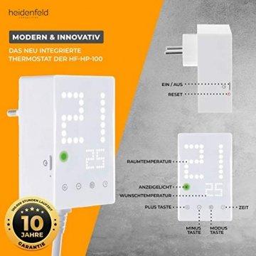 Heidenfeld Infrarotheizung HF-HP100 1000 Watt Weiß - inkl. Thermostat - 10 Jahre Garantie - Deutsche Qualitätsmarke - TÜV GS - 1000 Watt - 15-25 m² (HF-HP100 1000 Watt) - 5