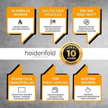 Heidenfeld Infrarotheizung HF-HP100 1000 Watt Weiß - inkl. Thermostat - 10 Jahre Garantie - Deutsche Qualitätsmarke - TÜV GS - 1000 Watt - 15-25 m² (HF-HP100 1000 Watt) - 6
