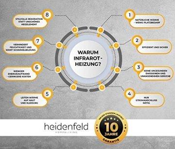 Heidenfeld Infrarotheizung HF-HP100 1000 Watt Weiß - inkl. Thermostat - 10 Jahre Garantie - Deutsche Qualitätsmarke - TÜV GS - 1000 Watt - 15-25 m² (HF-HP100 1000 Watt) - 8