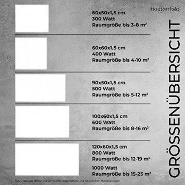 Heidenfeld Infrarotheizung HF-HP100 1000 Watt Weiß - inkl. Thermostat - 10 Jahre Garantie - Deutsche Qualitätsmarke - TÜV GS - 1000 Watt - 15-25 m² (HF-HP100 1000 Watt) - 9