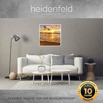 Heidenfeld Infrarotheizung HF-HP105 mit Fotomotiven - 10 Jahre Garantie - Deutsche Qualitätsmarke - TÜV GS - 300/400 / 500/600 / 800/1000 Watt - 3-25 m² (1000 Watt, Strand) - 3