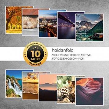 Heidenfeld Infrarotheizung HF-HP105 mit Fotomotiven - 10 Jahre Garantie - Deutsche Qualitätsmarke - TÜV GS - 300/400 / 500/600 / 800/1000 Watt - 3-25 m² (1000 Watt, Strand) - 9