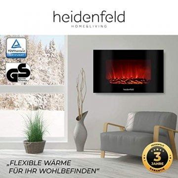 Heidenfeld Wandkamin Elektrisch HF-WK100 mit Fernbedienung - 3 Jahre Garantie - 1000 oder 2000 Watt - Flammensimulation - Heizthermostat - Kaminofen Elektrokamin Kaminfeuer (WK100D Flach Holzoptik) - 2