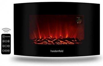 Heidenfeld Wandkamin Elektrisch HF-WK100 mit Fernbedienung - 3 Jahre Garantie - 1000 oder 2000 Watt - Flammensimulation - Heizthermostat - Kaminofen Elektrokamin Kaminfeuer (WK100D Flach Holzoptik) - 1