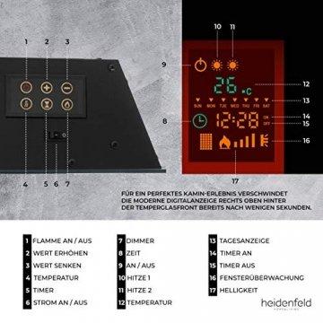 Heidenfeld Wandkamin Elektrisch HF-WK100 mit Fernbedienung - 3 Jahre Garantie - 1000 oder 2000 Watt - Flammensimulation - Heizthermostat - Kaminofen Elektrokamin Kaminfeuer (WK100D Flach Holzoptik) - 7
