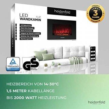 Heidenfeld Wandkamin Elektrisch HF-WK100 mit Fernbedienung - 3 Jahre Garantie - 1000 oder 2000 Watt - Flammensimulation - Heizthermostat - Kaminofen Elektrokamin Kaminfeuer (WK100D Flach Holzoptik) - 9