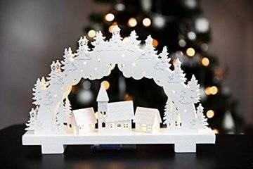 HEITMANN DECO LED-Lichterbogen aus Holz - Stimmungsleuchter - Schwibbogen - beleuchtete Weihnachtsdeko - weiß - für innen - 1