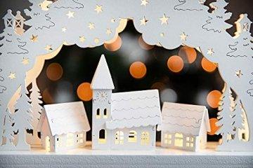 HEITMANN DECO LED-Lichterbogen aus Holz - Stimmungsleuchter - Schwibbogen - beleuchtete Weihnachtsdeko - weiß - für innen - 5