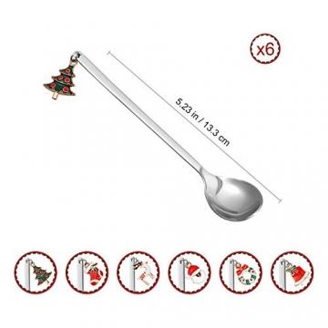 Hemoton 6 Stück Edelstahl Kaffeelöffel Weihnachtslöffel Dessert Tee Eislöffel Rührlöffel Weihnachtssilber mit Geschenkbox Silber - 3