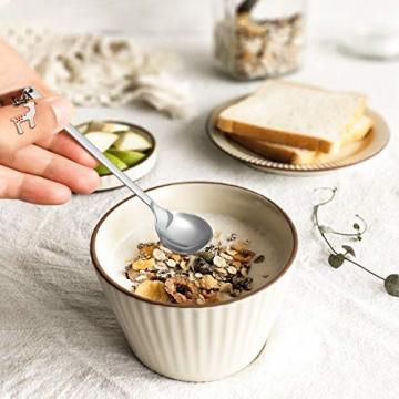 Hemoton 6 Stück Edelstahl Kaffeelöffel Weihnachtslöffel Dessert Tee Eislöffel Rührlöffel Weihnachtssilber mit Geschenkbox Silber - 4