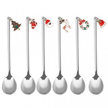 Hemoton 6 Stück Edelstahl Kaffeelöffel Weihnachtslöffel Dessert Tee Eislöffel Rührlöffel Weihnachtssilber mit Geschenkbox Silber - 1