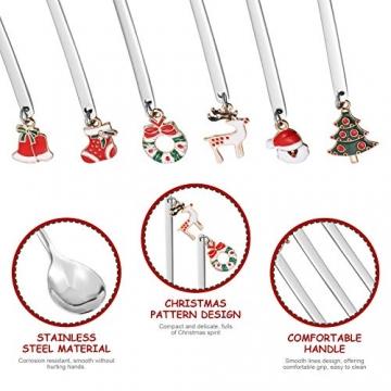 Hemoton 6 Stück Edelstahl Kaffeelöffel Weihnachtslöffel Dessert Tee Eislöffel Rührlöffel Weihnachtssilber mit Geschenkbox Silber - 5