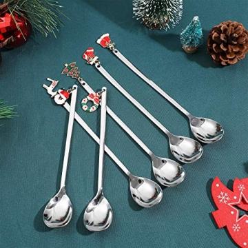 Hemoton 6 Stück Edelstahl Kaffeelöffel Weihnachtslöffel Dessert Tee Eislöffel Rührlöffel Weihnachtssilber mit Geschenkbox Silber - 6