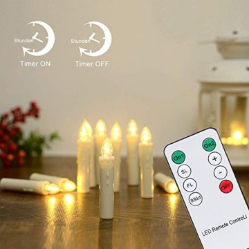 Hengda 30er LED Weihnachtskerzen mit Fernbedienung Timer Warmweiß Dimmbar Kerzen mit Batterien Weihnachtskerzen Christbaumkerzen Kabellos - 2