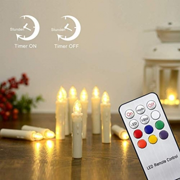 Hengda 40 Stück LED Weihnachtskerzen mit Fernbedienung RGB Kerzen Lichterkette Christbaumkerzen Kabellos LED Kerzenlichter Weihnachts - 2