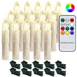 Hengda 40 Stück LED Weihnachtskerzen mit Fernbedienung RGB Kerzen Lichterkette Christbaumkerzen Kabellos LED Kerzenlichter Weihnachts - 1