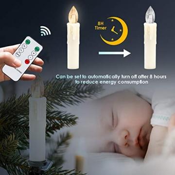Hengda 40er LED Weihnachtskerzen Kabellos Warmweiß, mit Fernbedienung Timer und Batterien, Christbaumkerzen Kabellos, LED Kerzen Dimmbar, IP44, für Weihnachtsbaum, Weihnachtsdeko - 3