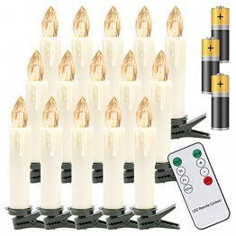 Hengda 40er LED Weihnachtskerzen Kabellos Warmweiß, mit Fernbedienung Timer und Batterien, Christbaumkerzen Kabellos, LED Kerzen Dimmbar, IP44, für Weihnachtsbaum, Weihnachtsdeko - 1