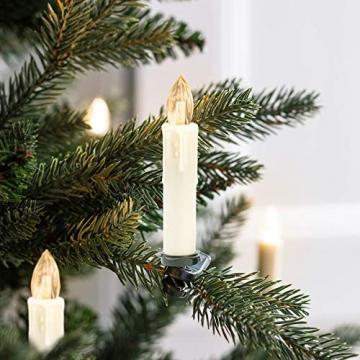 Hengda 40er LED Weihnachtskerzen Kabellos Warmweiß, mit Fernbedienung Timer und Batterien, Christbaumkerzen Kabellos, LED Kerzen Dimmbar, IP44, für Weihnachtsbaum, Weihnachtsdeko - 6